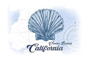 Venice Beach, California - Scallop Shell - Blue - Coastal Icon by Lantern Press