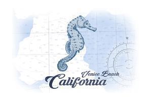 Venice Beach, California - Seahorse - Blue - Coastal Icon by Lantern Press