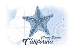 Venice Beach, California - Starfish - Blue - Coastal Icon by Lantern Press