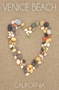 Venice Beach, California - Stone Heart on Sand by Lantern Press