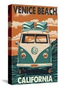 Venice Beach, California - VW Van by Lantern Press
