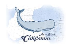 Venice Beach, California - Whale - Blue - Coastal Icon by Lantern Press