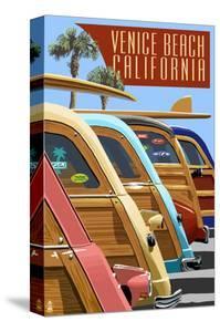 Venice Beach, California - Woodies Lined Up by Lantern Press