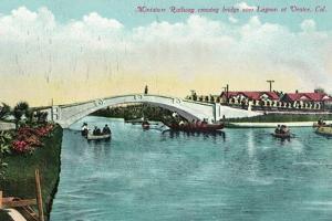 Venice, California - Miniature Railway Crossing Lagoon Bridge by Lantern Press