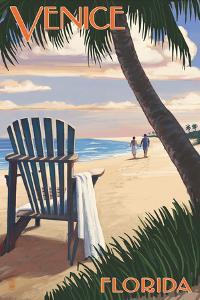 Venice, Florida - Adirondack Chair on the Beach by Lantern Press