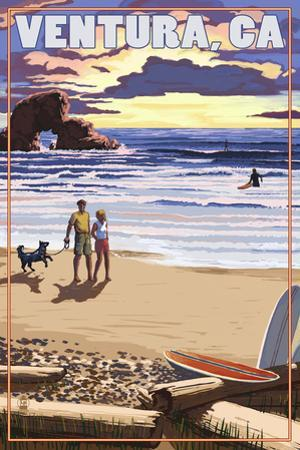 Ventura, California - Surfing Beach Scene