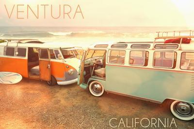 Ventura, Californias on Beach by Lantern Press
