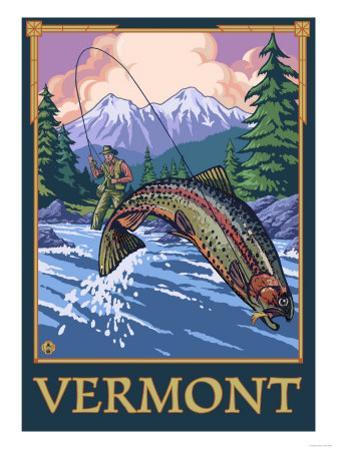 Vermont - Angler Fisherman Scene by Lantern Press