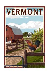 Vermont - Barnyard Scene by Lantern Press