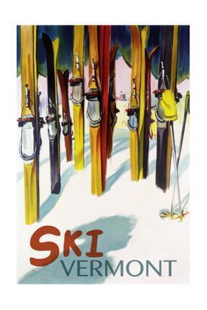 Vermont - Colorful Skis by Lantern Press