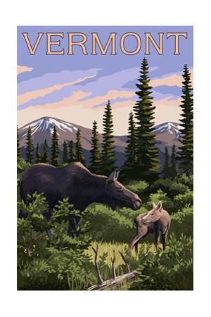 Vermont - Moose and Baby Calf by Lantern Press