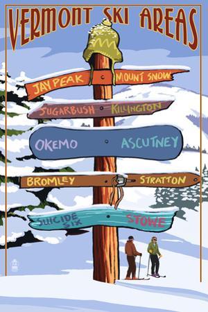 Vermont - Ski Areas Sign Destinations by Lantern Press