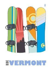 Vermont, Snowboards in the Snow by Lantern Press