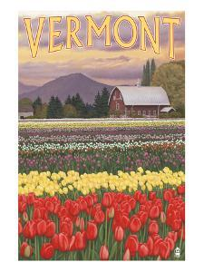 Vermont - Tulip Fields by Lantern Press