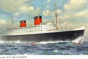 View of Cunard Ocean Liner Queen Elizabeth by Lantern Press