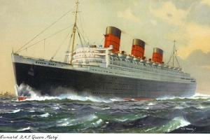 View of Cunard Ocean Liner Queen Mary by Lantern Press