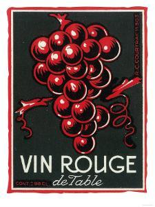 Vin Rouge De Table Wine Label - Europe by Lantern Press