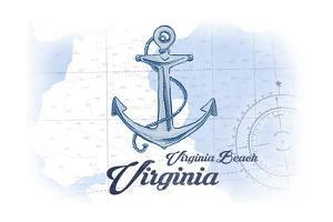Virginia Beach, Virginia - Anchor - Blue - Coastal Icon by Lantern Press