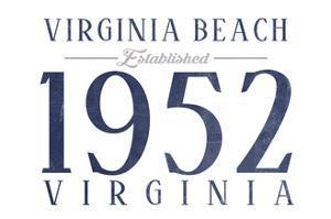 Virginia Beach, Virginia - Established Date (Blue) by Lantern Press