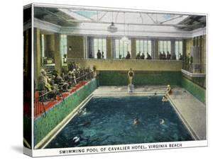Virginia Beach, Virginia, Interior View of the Cavalier Hotel Swimming Pool by Lantern Press