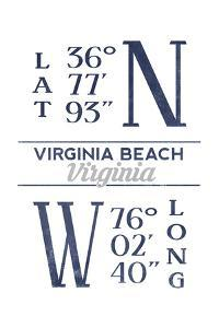Virginia Beach, Virginia - Latitude and Longitude (Blue) by Lantern Press