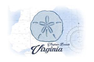 Virginia Beach, Virginia - Sand Dollar - Blue - Coastal Icon by Lantern Press