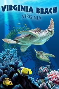 Virginia Beach, Virginia - Sea Turtle Swimming by Lantern Press