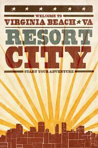 Virginia Beach, Virginia - Skyline and Sunburst Screenprint Style by Lantern Press