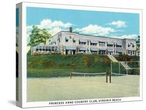 Virginia Beach, Virginia, Tennis Court View of the Princess Anne Country Club by Lantern Press