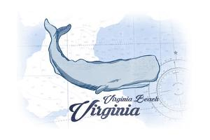 Virginia Beach, Virginia - Whale - Blue - Coastal Icon by Lantern Press