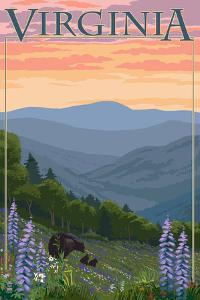Virginia - Black Bear and Cubs Spring Flowers by Lantern Press