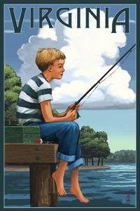 Virginia - Boy Fishing by Lantern Press