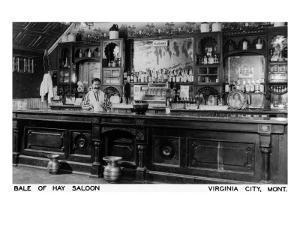Virginia City, Montana - Interior View of Bale of Hay Saloon by Lantern Press