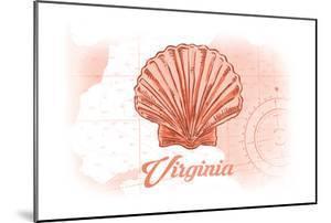 Virginia - Scallop Shell - Coral - Coastal Icon by Lantern Press