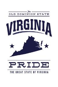 Virginia State Pride - Blue on White by Lantern Press