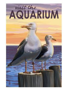 Visit the Aquarium, Sea Gulls Scene by Lantern Press
