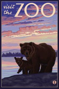 Visit the Zoo, Bear and Cub by Lantern Press