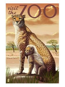 Visit the Zoo, Cheetah View by Lantern Press