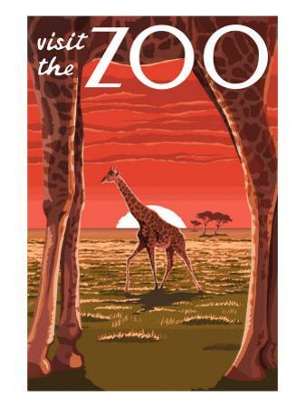 Visit the Zoo, Giraffe Scene by Lantern Press