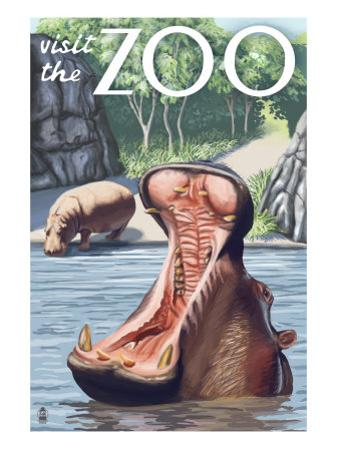 Visit the Zoo, Hippo Scene by Lantern Press