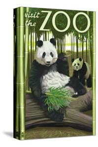 Visit the Zoo, Panda Bear Scene by Lantern Press