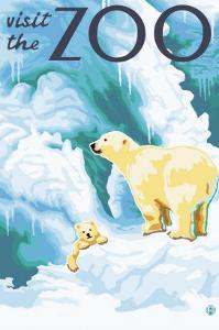 Visit the Zoo, Polar Bear and Cub by Lantern Press