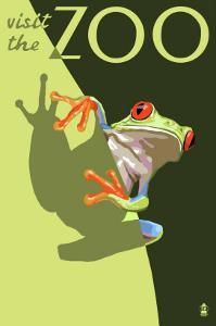 Visit the Zoo, Tree Frog Scene by Lantern Press