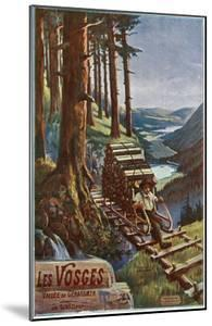 Vosges, France - View of a Lumberjack Carrying Wood, View of the Garardmer Valley, c.1920 by Lantern Press