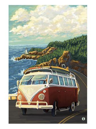 VW Van on Coast by Lantern Press