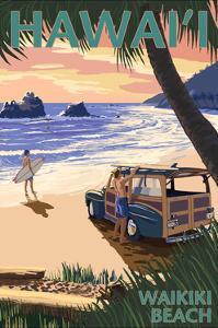 Waikiki Beach, Hawai'i - Woody on Beach by Lantern Press