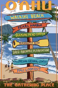 Waikiki Beach, Oahu, Hawaii - Sign Destinations by Lantern Press