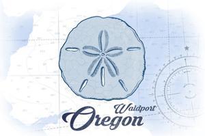 Waldport, Oregon - Sand Dollar - Blue - Coastal Icon by Lantern Press