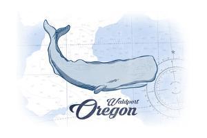 Waldport, Oregon - Whale - Blue - Coastal Icon by Lantern Press