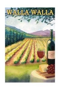 Walla Walla - Vineyard Scene by Lantern Press